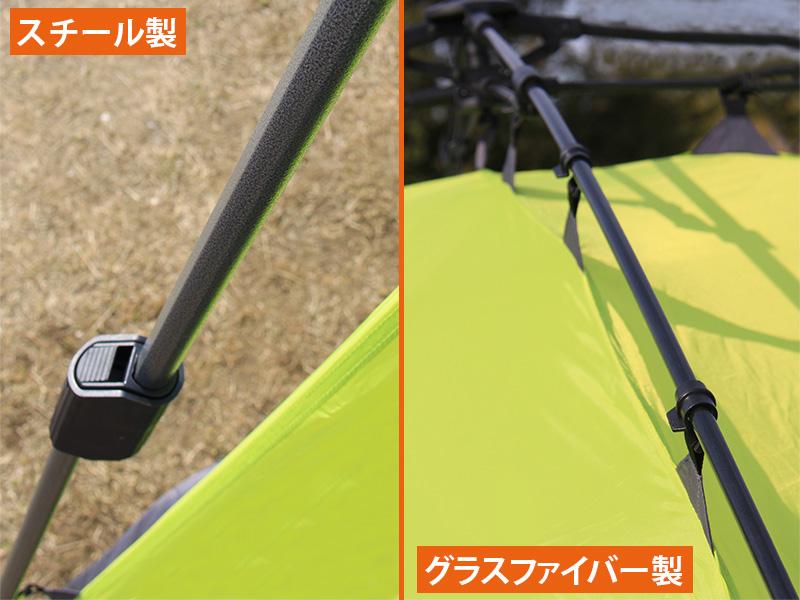 ワンタッチカーサイドタープの各部の特徴(グラスファイバー/スチール)
