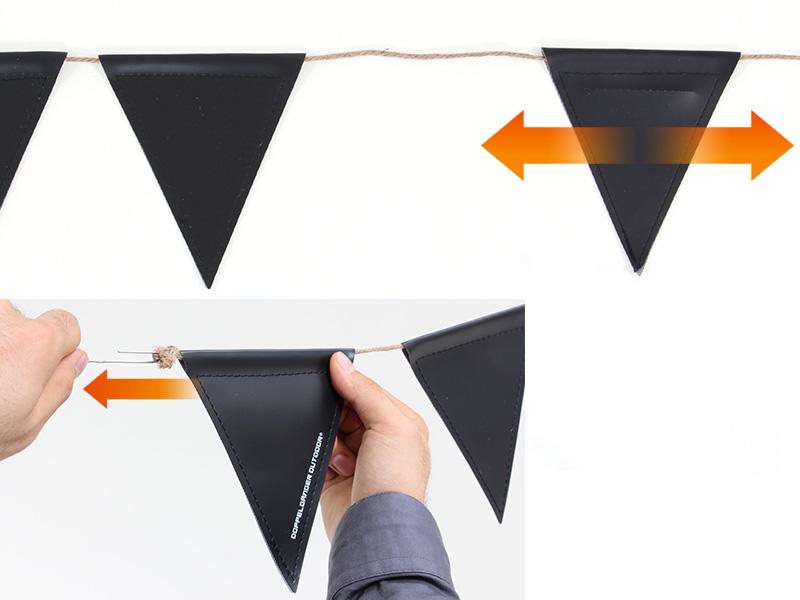 黒板フラッグガーランドの各部の特徴(可動式フラッグ)