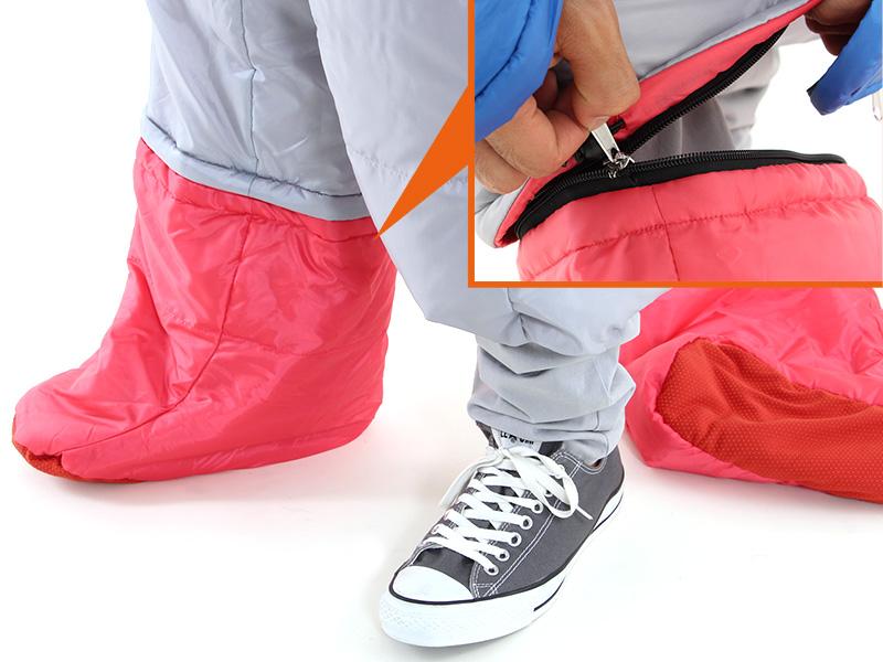 人型寝袋ver7.0 ダウンシリーズの各部の特徴(フットジッパー)