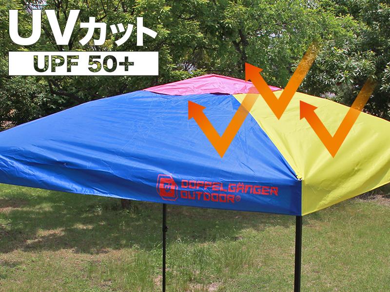 ワンタッチリビングタープの各部の特徴(UVカット UPF50+)