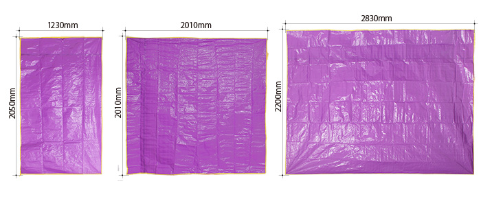 グランドシート(四角形タイプ)のサイズ画像