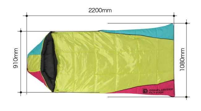 2WAYスリーピングバッグのサイズ画像