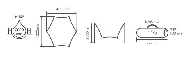 アオゾラタープのサイズ画像