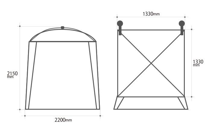 ワンタッチカーサイドタープのサイズ画像