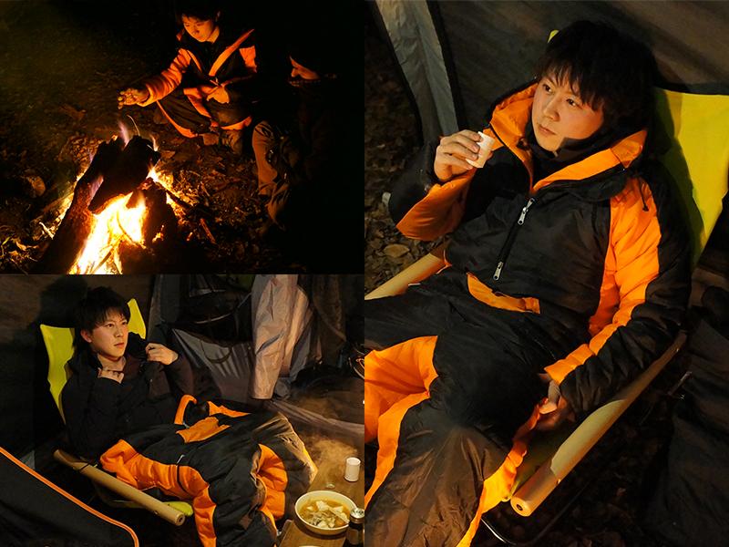 冬キャンプ防寒寝袋セット行動時の様子画像