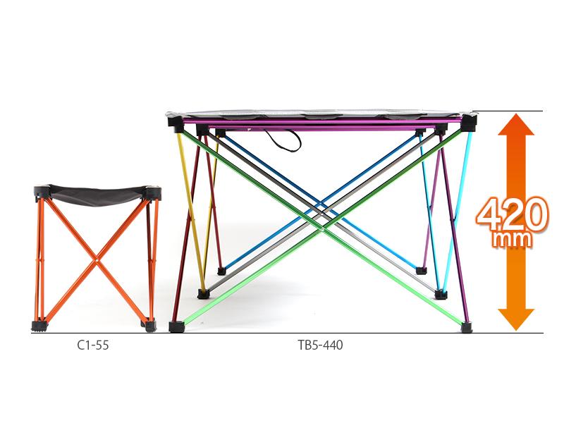 ウルトラライトパーティーテーブルの各部の特徴(キャンプやBBQに最適な高さ)