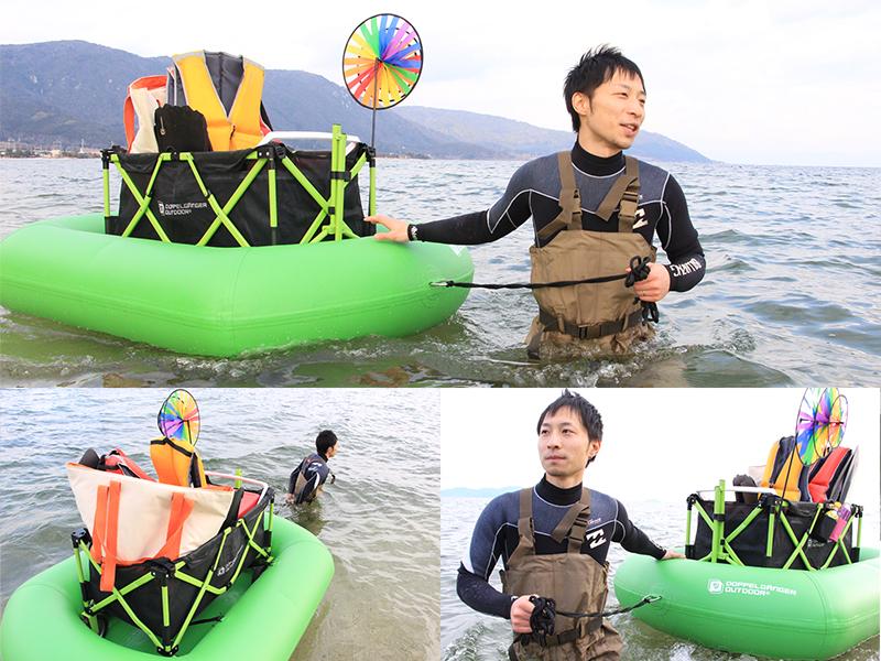 キャリーワゴン用水陸両用アタッチメントのメインの特徴(川・湖・海。水面の移動もラクラク!)