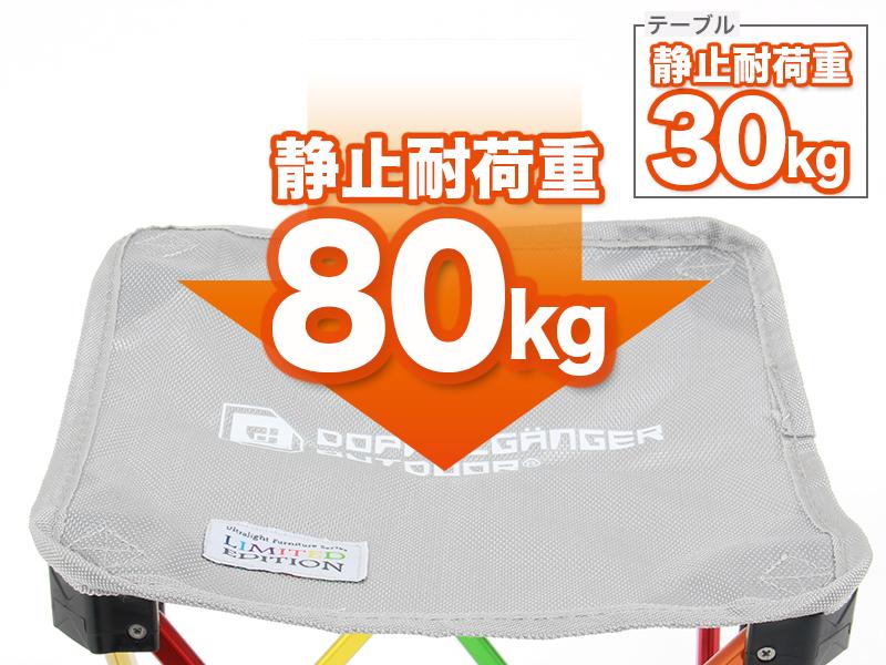 ウルトラライトテーブルセットの各部の特徴(静止耐荷重 チェア80kg/テーブル30kg)