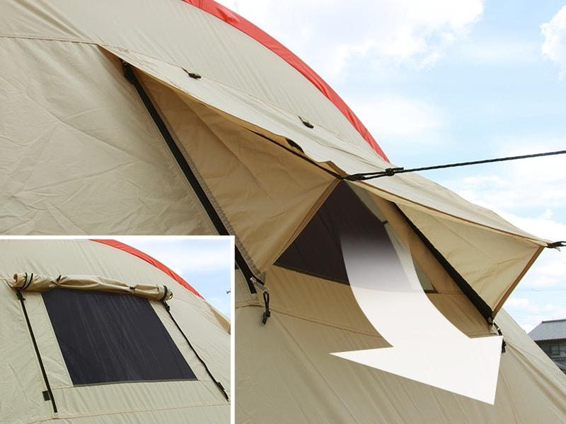 カマボコテントの各部の特徴(風だけ通すバックウィンドウ)