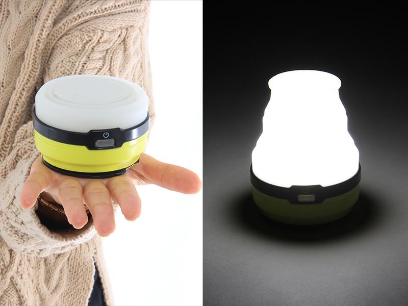 LEDソーラーポップアップランタンのメインの特徴(ミニマルサイズ&ハイパワーライト)