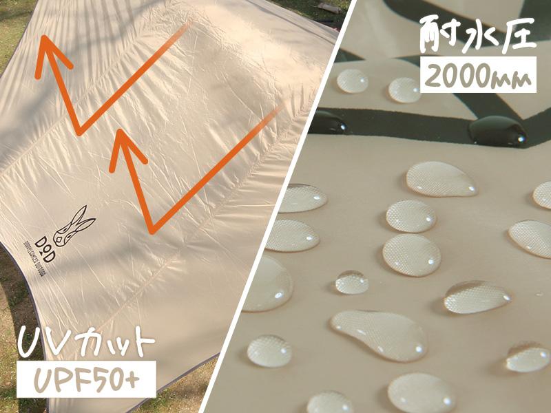 ナチュラルタープの各部の特徴(UPF50+/耐水圧2000mm)