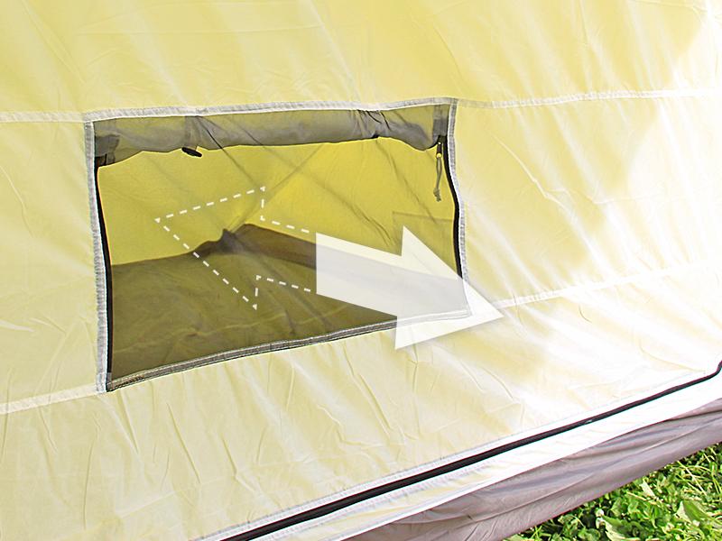 1LDKタープの各部の特徴(大型メッシュ窓)