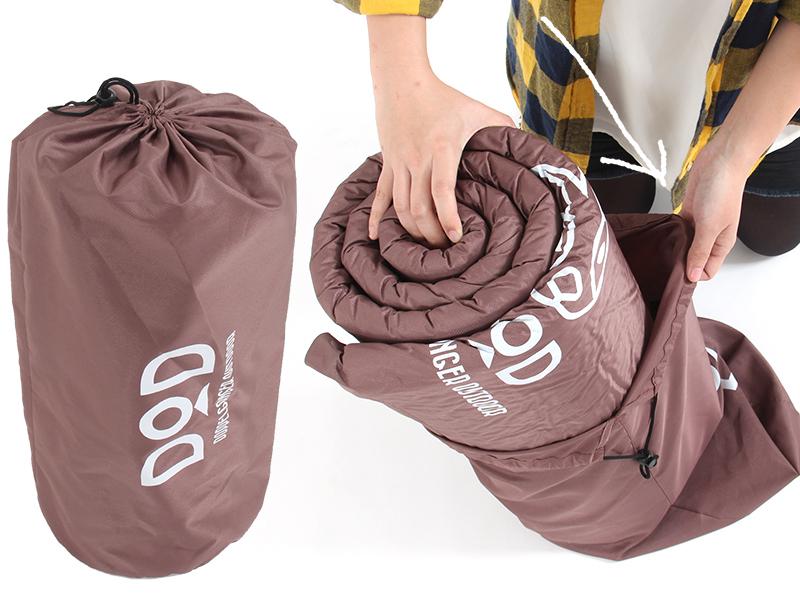 丸洗いシーツエアマットの各部の特徴(ゆとりサイズの専用収納バッグ)
