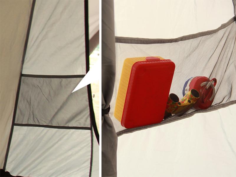 プレミアムワンタッチテントの各部の特徴(大型メッシュポケット)
