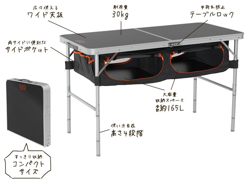 ストレージアウトドアテーブルの主な特徴