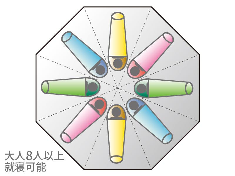 レインボーワンポールテントのメインの特徴(広々としたテント内部)
