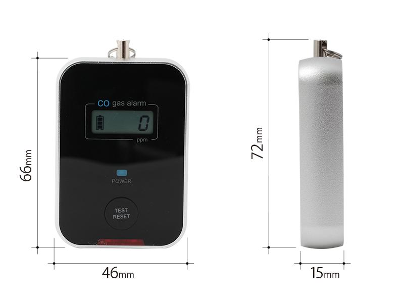 キャンプ用一酸化炭素チェッカーのサイズ画像