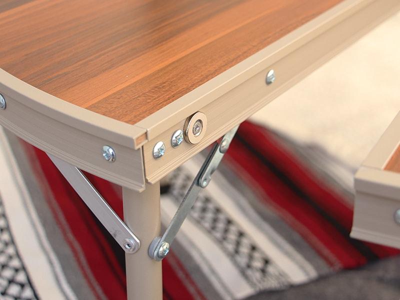ワンポールテントテーブルの各部の特徴(磁石で簡単に設置可能)