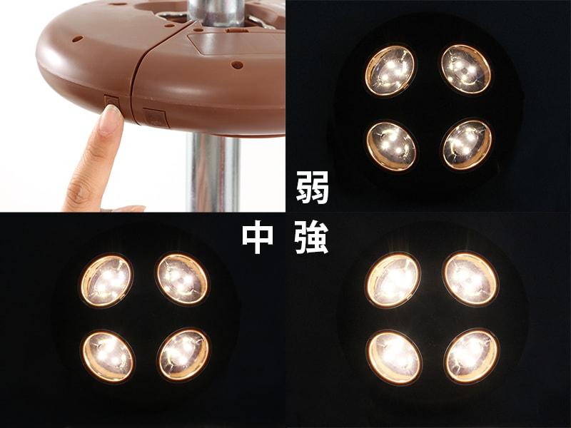 リモコンUFOライトの各部の特徴(光量調節機能付き)