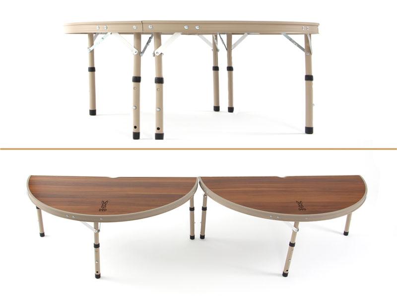 ワンポールテントテーブルの各部の特徴(脚6本の安定設計)