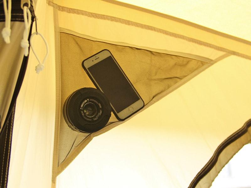 タケノコテントミニの各部の特徴(大型ポケット(インナーテント入り口))