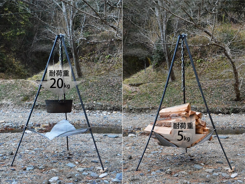 ビッグファイアクレードル の各部の特徴(静止耐荷重量20kg)