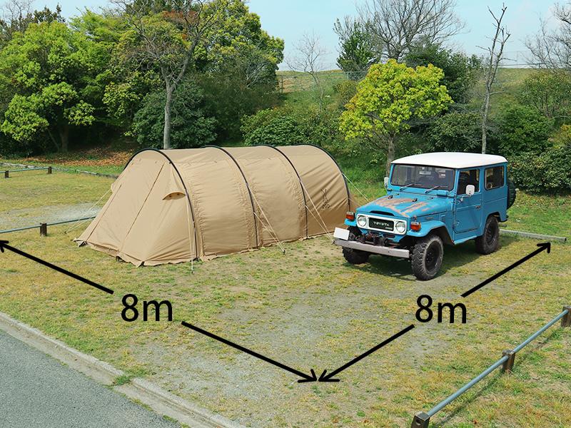 カマボコテント2のメインの特徴(日本のキャンプサイトに合わせて設計されたサイズ)