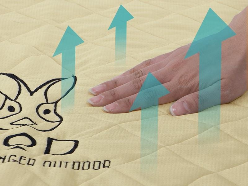 シーツエアマット用クールパッドのメインの特徴(接触冷感生地)