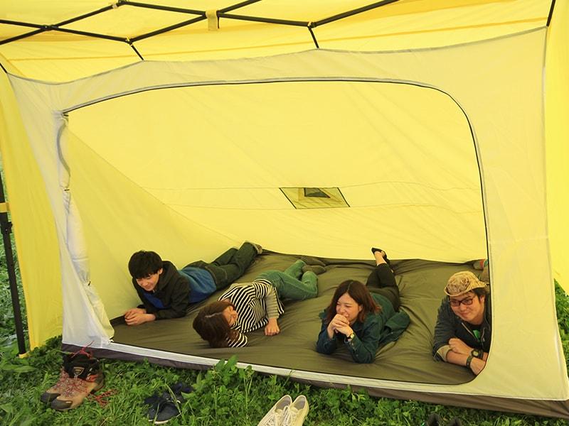 1LDKタープのメインの特徴(キャンプの寝室として)