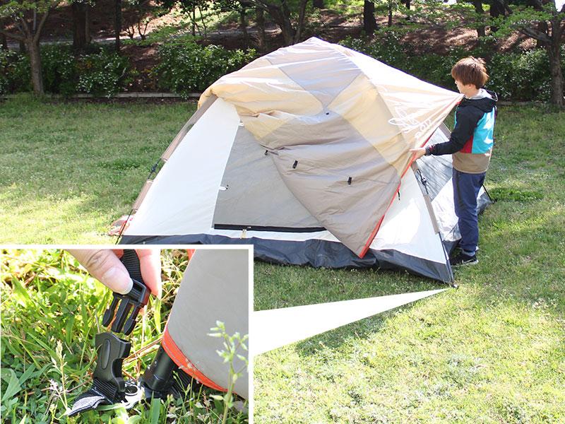 ワンタッチテントの組立/設営方法