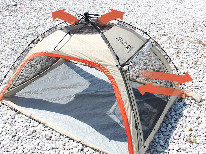 ワイドビーチテントの各部の特徴(メッシュで快適な風通し)