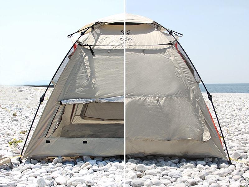 ワイドビーチテントの各部の特徴(調節できるメッシュ窓)