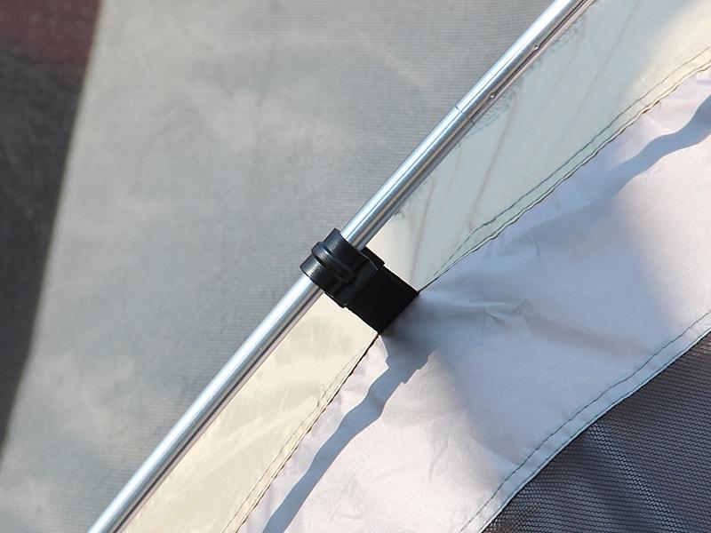 ワンタッチビッグダディの各部の特徴(アルミ合金製のテントポール)