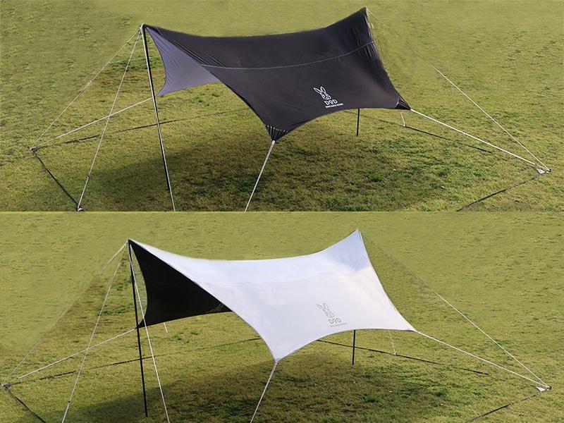スマートタープのメインの特徴(濃い影で快適に過ごせるリバーシブルデザイン)