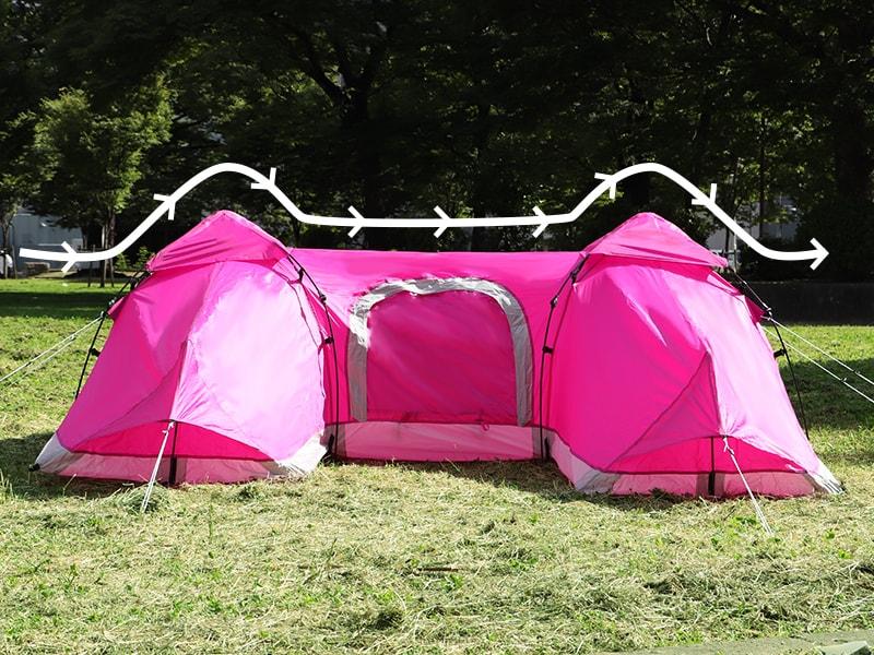 Hテントの各部の特徴(風に強い)