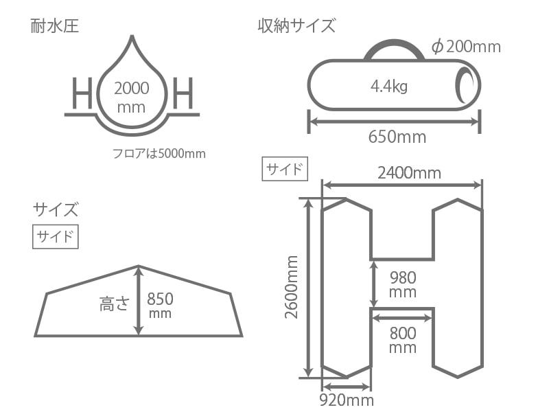 Hテントのサイズ画像
