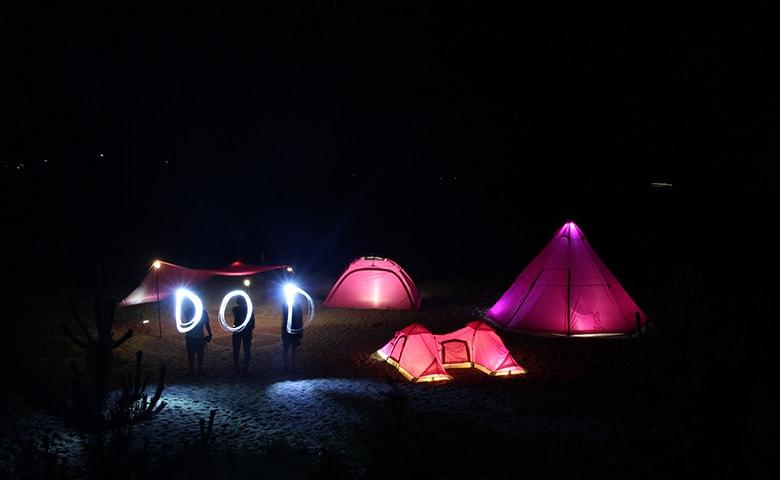 新製品チラリ。DODチーム、海に撮影キャンプに行ってきた。