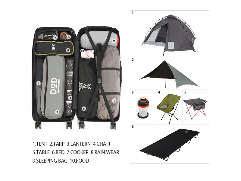 キャンパーノ・コロコーロのメインの特徴(テントなどのキャンプ道具が入る細長サイズ)