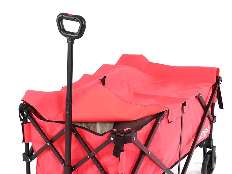 アルミキャリーワゴンの各部の特徴(荷物を固定できるトップシート)