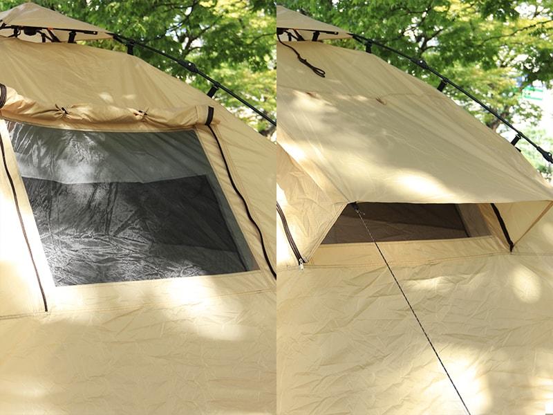 ライダーズタンデムテントの各部の特徴(大型窓(寝室スペース))