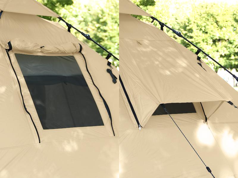 ライダーズバイクインテントの各部の特徴(大型窓(寝室スペース))