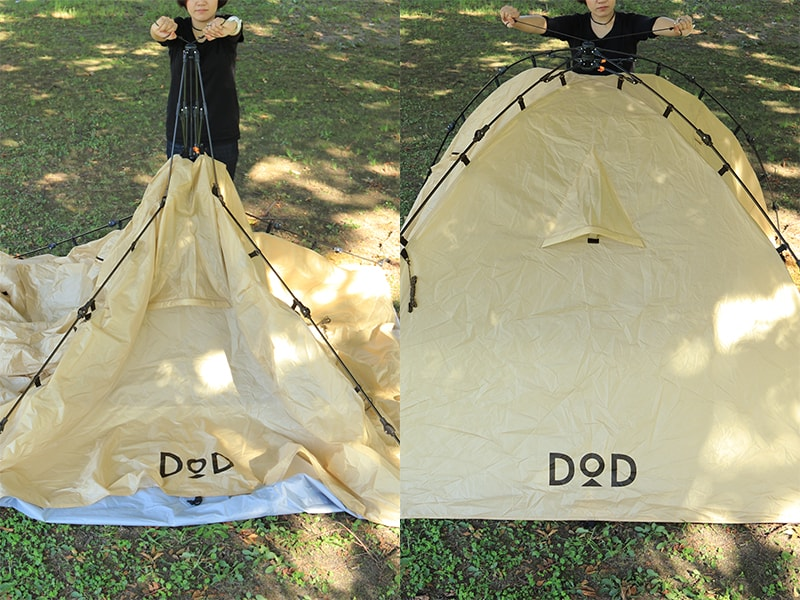ライダーズタンデムテントのメインの特徴(キャンプ場ですぐに設営や片付けが完了!)