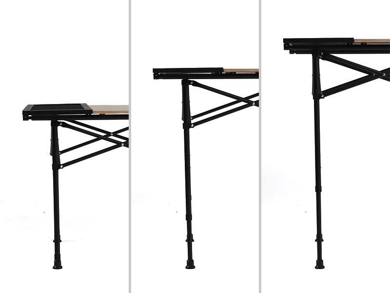 ソトデーチューボーの各部の特徴(ダイニングテーブルにも。3段階高さ調整)