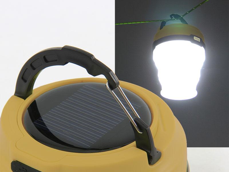 LEDソーラーポップアップランタンの各部の特徴(カラビナ式フックハンガー)