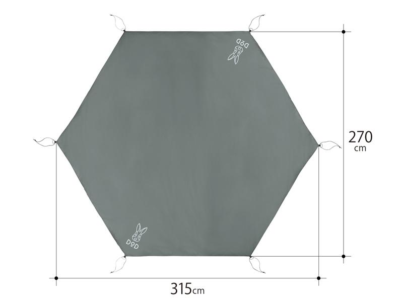 ワンポールテント用グランドシート(5人用)のサイズ画像