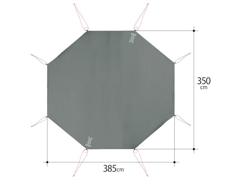 ワンポールテント用グランドシート(8人用)のサイズ画像