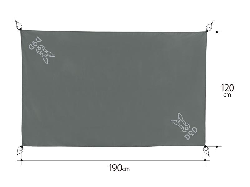 グランドシート(2人用)のサイズ画像