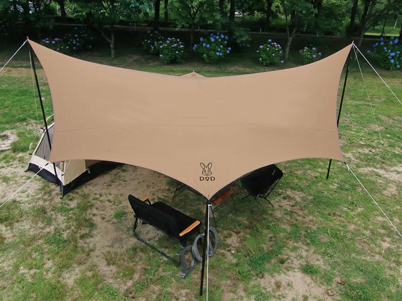 オクラタープのメインの特徴(レクタタープやヘキサタープと比べて優れた耐風性)