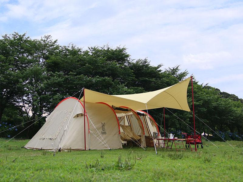 オクラタープのメインの特徴(カマボコテントをより快適にするオクラカマスタイル)
