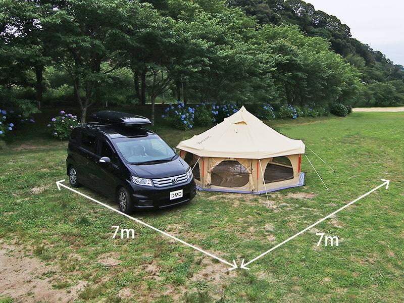 タケノコテントミニのメインの特徴(7×7mの区画サイトに収まる設営面積)